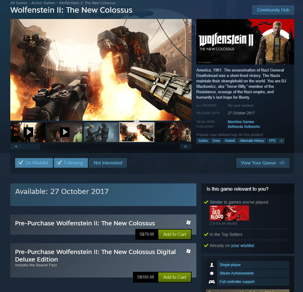 Wolfenstein 2 The New Colossus Discount steam price singapore